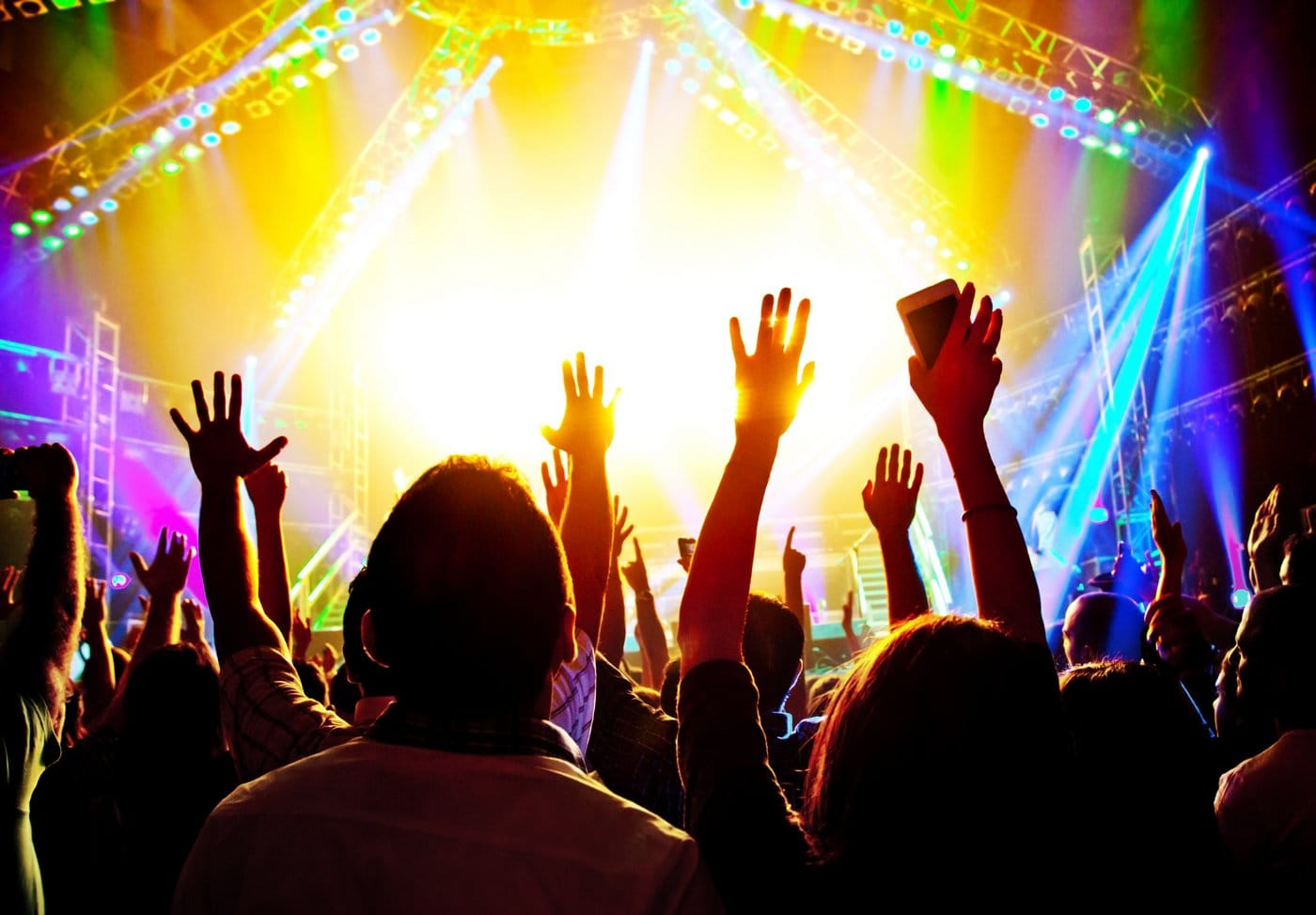 Rock concert stage and audience