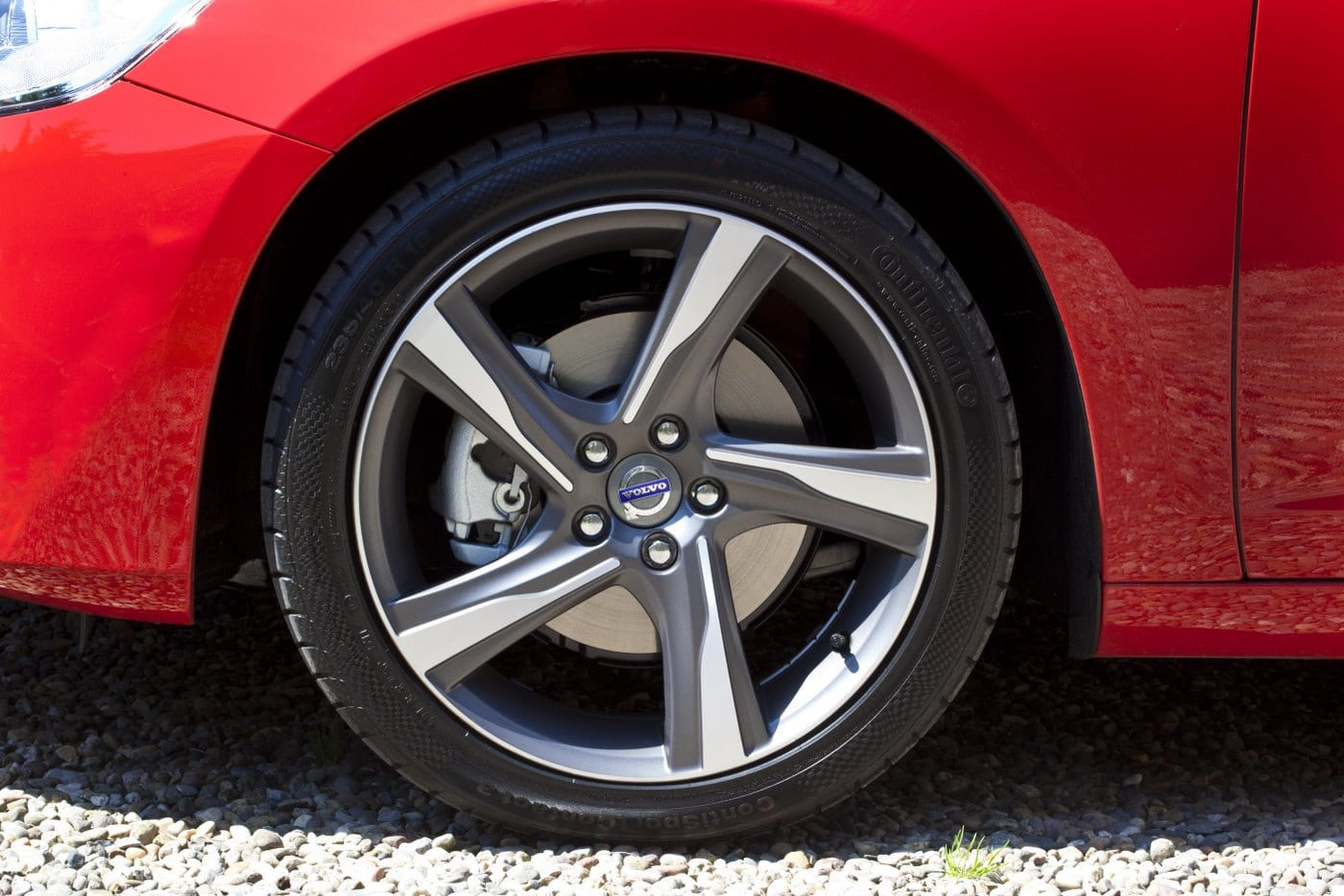 Brake seen inside a car wheel