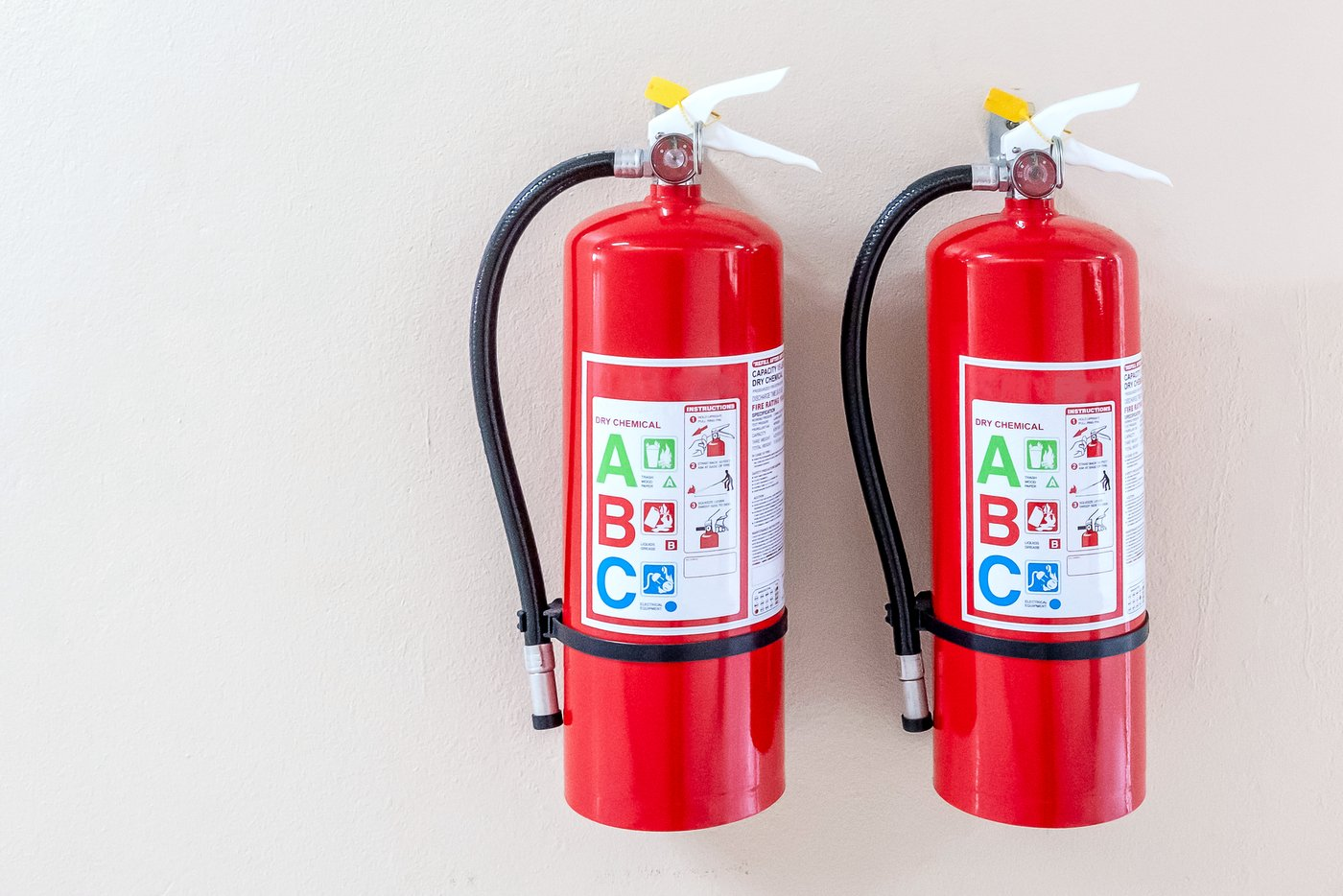 Two ABC fire extinguishers wall mounted