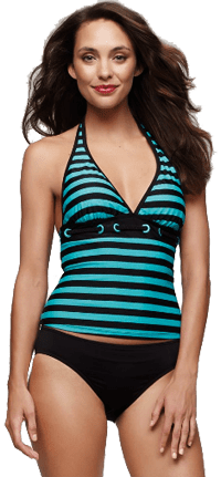 Woman in Island Escape Swimsuit, Striped Tankini Top & Basic Bottom