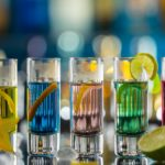 Colored vodka shots