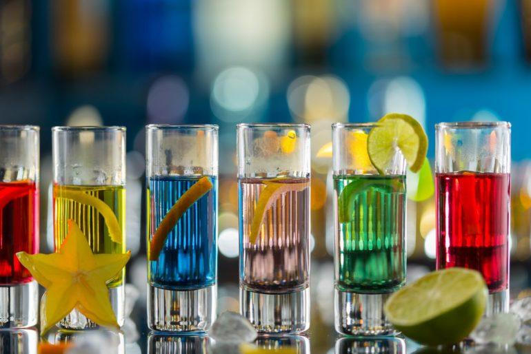 Colored vodka shots