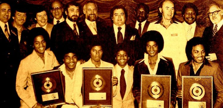 Jackson Five receiving gold records in 1977