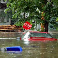 How do you get out of a car sinking under water?