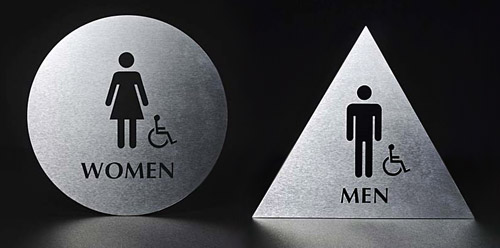 Bathroom Signs Circle And Triangle universal restroom signs – ams 10 wednesday sections blog fall 2014