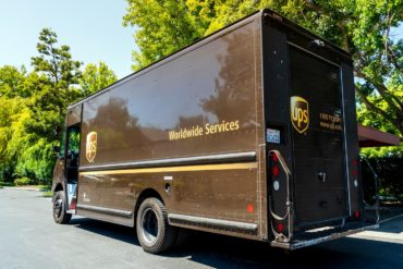 Brown UPS delivery truck