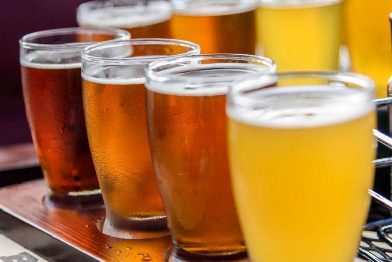 Craft beer flight at a brewery