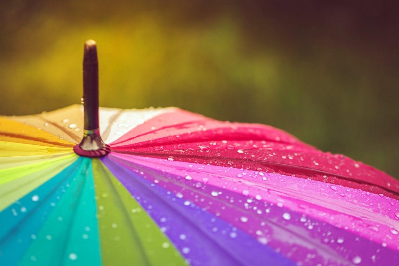 Rainbow colored umbrella