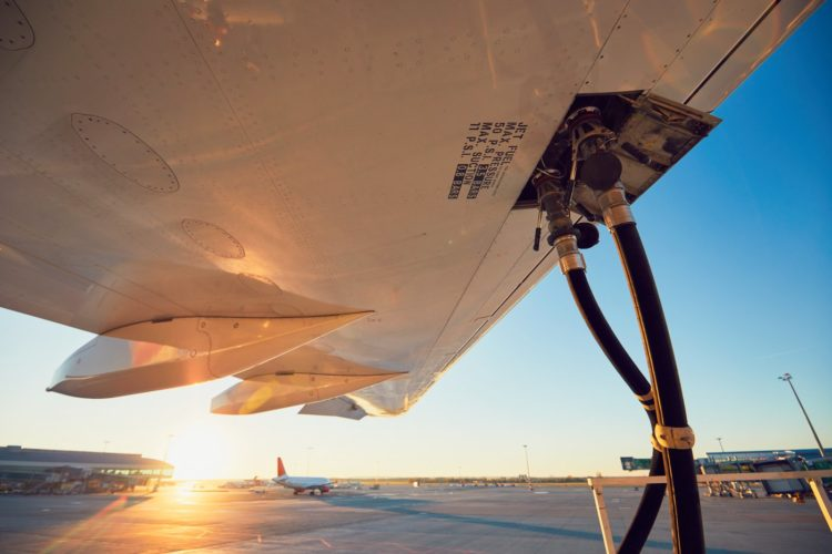 Refueling an airplane before flight