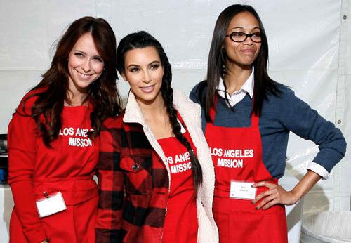 Celebrities Jennifer Love Hewitt, Kim Cardassian - erm - Kardashian, and Zoe Saldana