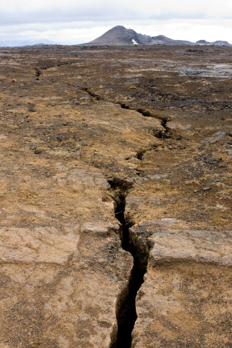Earthquake fault line in Iceland