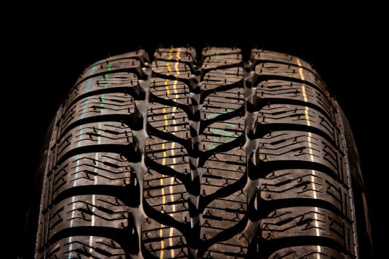 Car tire close-up