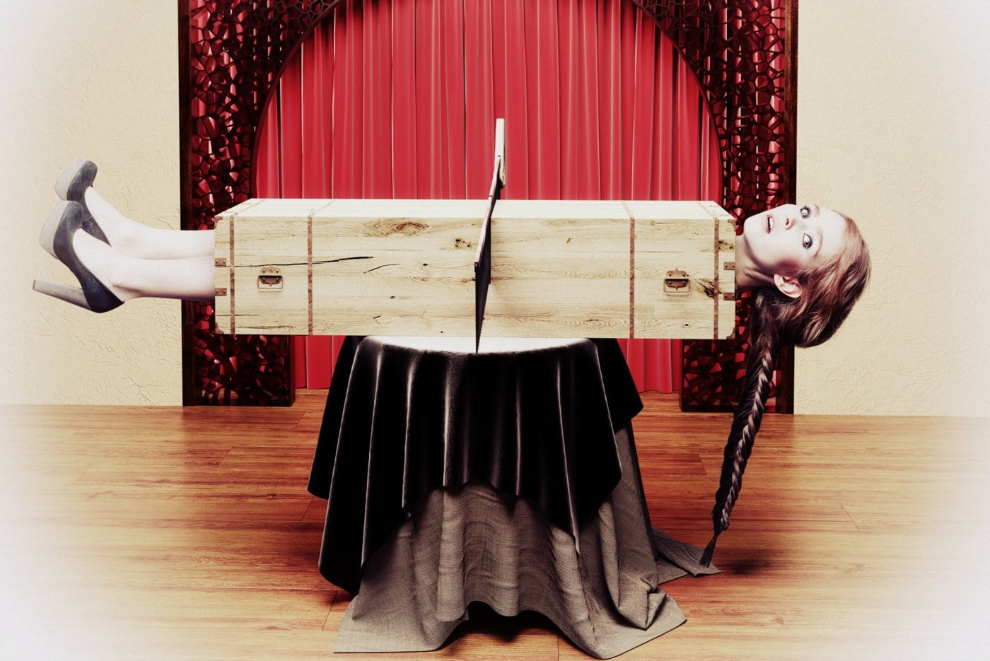 Old sawing the woman in half magic trick