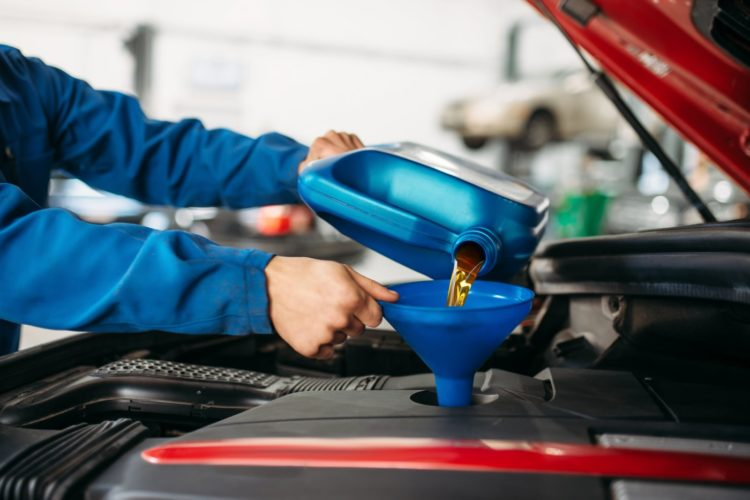 Changing the oil in a car