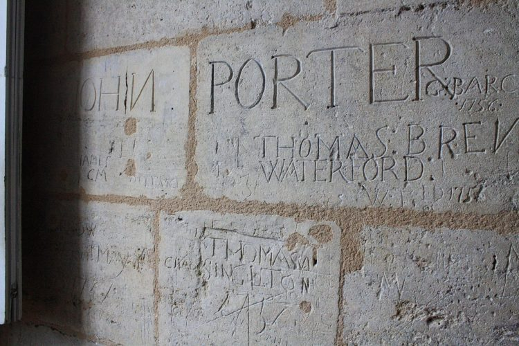 Graffiti from 1756 located in a room of the Château de Cognac (France)