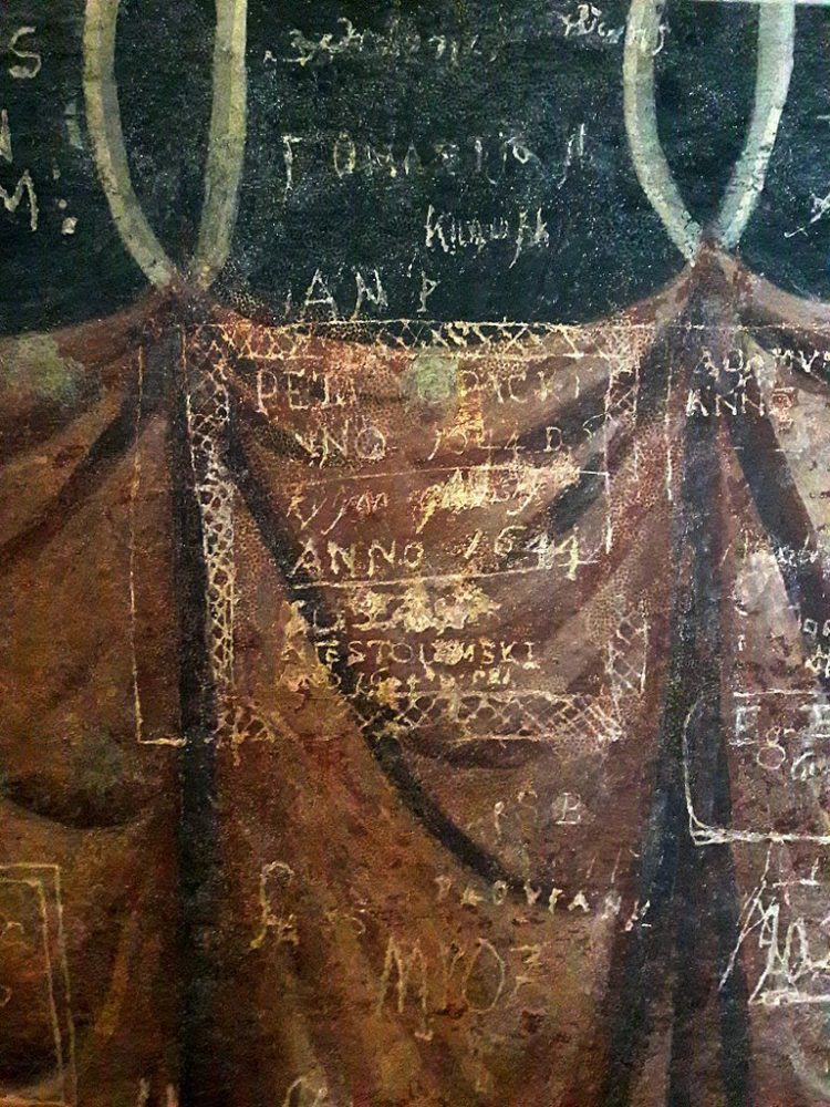 Graffiti signatures in the Holy Trinity Chapel in Lublin Poland - 1600s