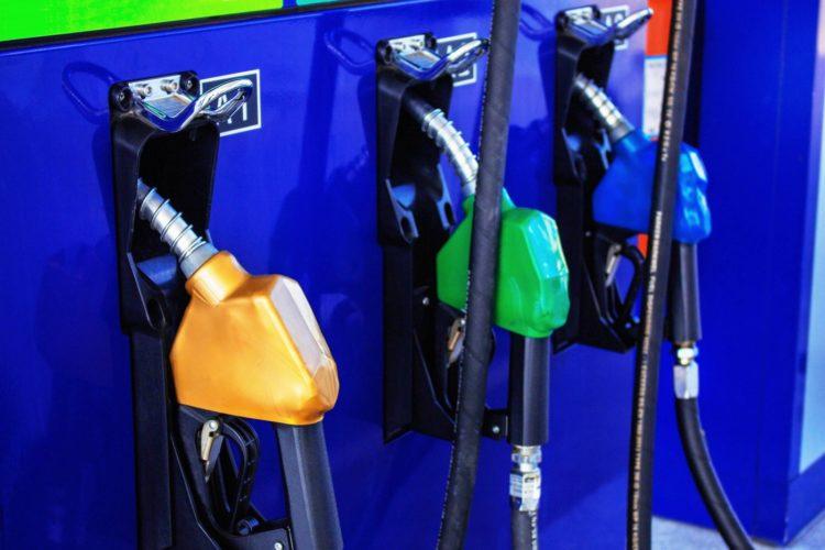 Three grades of gasoline - Service station pumps
