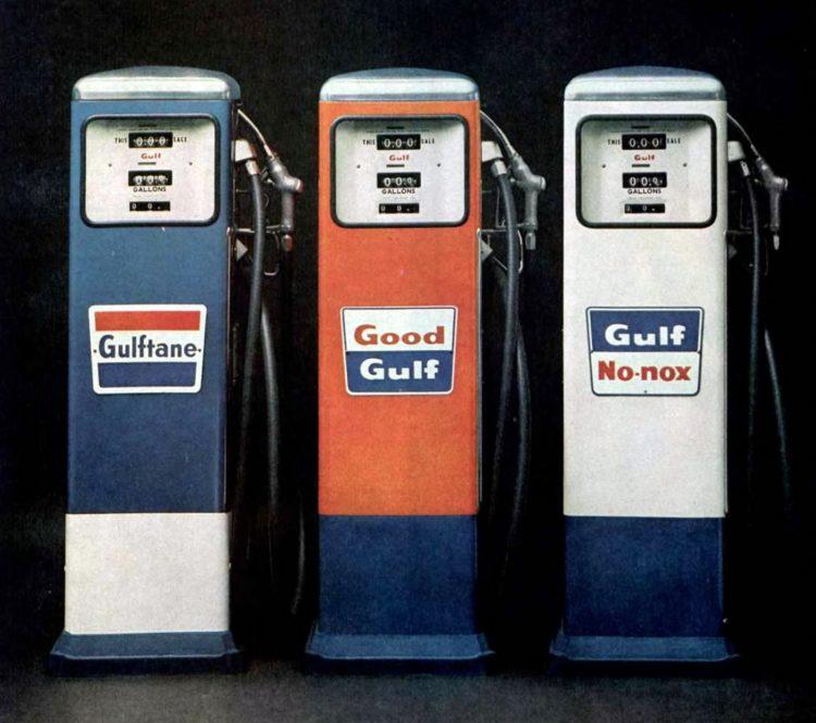 Vintage gas pumps in 1963