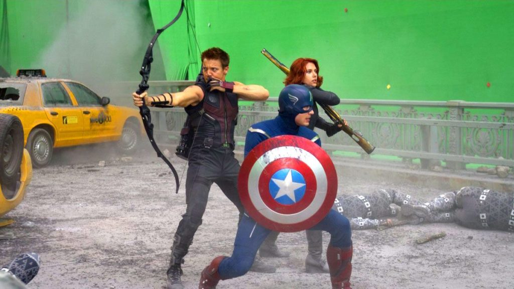 Green screen/chroma key scene shooting from Marvel's Avengers