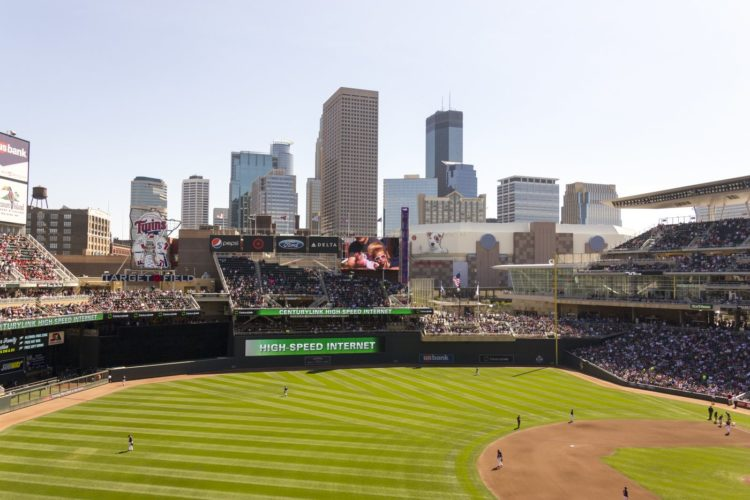 The skyline of Minneapolis, as seen from Target Field.