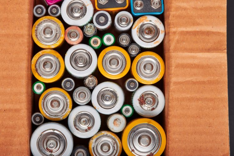 Old batteries being collected for recycling