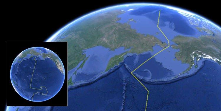 International Date Line on image of Earth - NOAA
