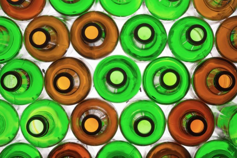 Green and brown bottles - top view