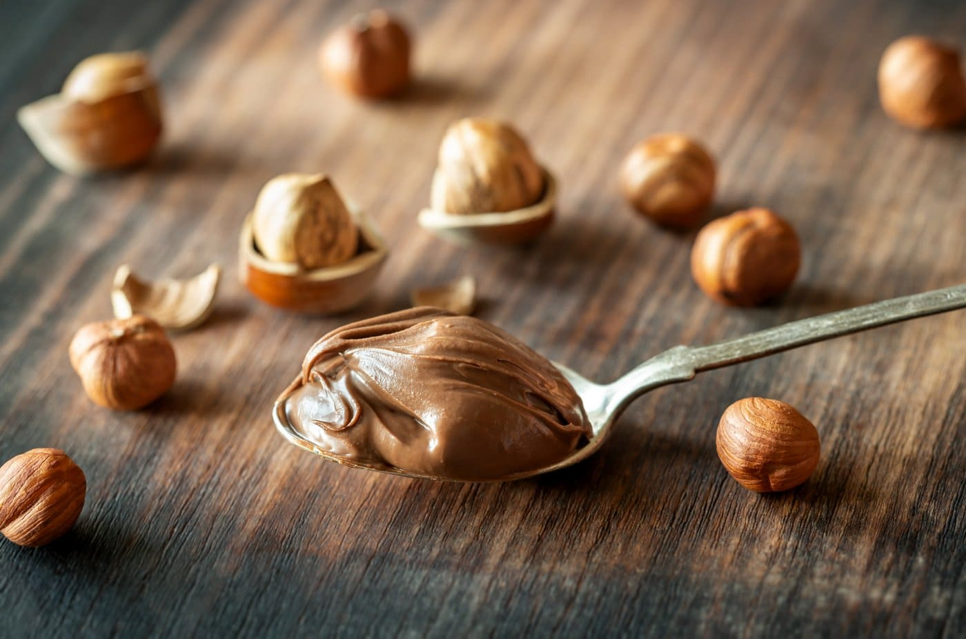 Hazelnuts and Nutella chocolate spread