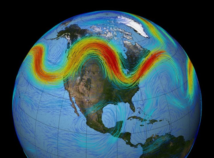 Polar jet stream visualization, courtesy NASA