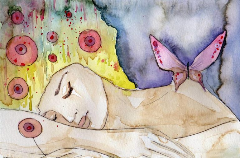 Sleep - Woman dreaming of a butterfly