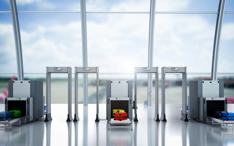 Airport security screening metal detectors