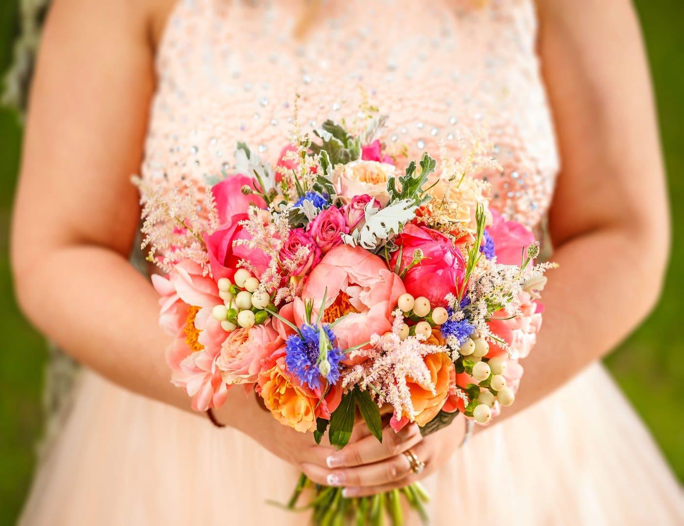 Wedding dress and bridal bouquet