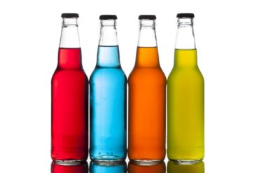 4 colorful craft sodas - pop - soft drinks