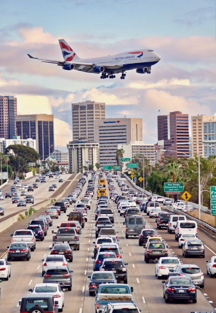 British Airways jet landing at San Diego International Airport
