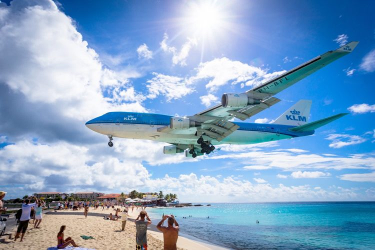 Princess Juliana International Airport KLM jet landing