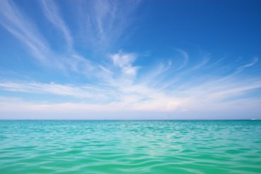 Aqua ocean and beautiful blue sky