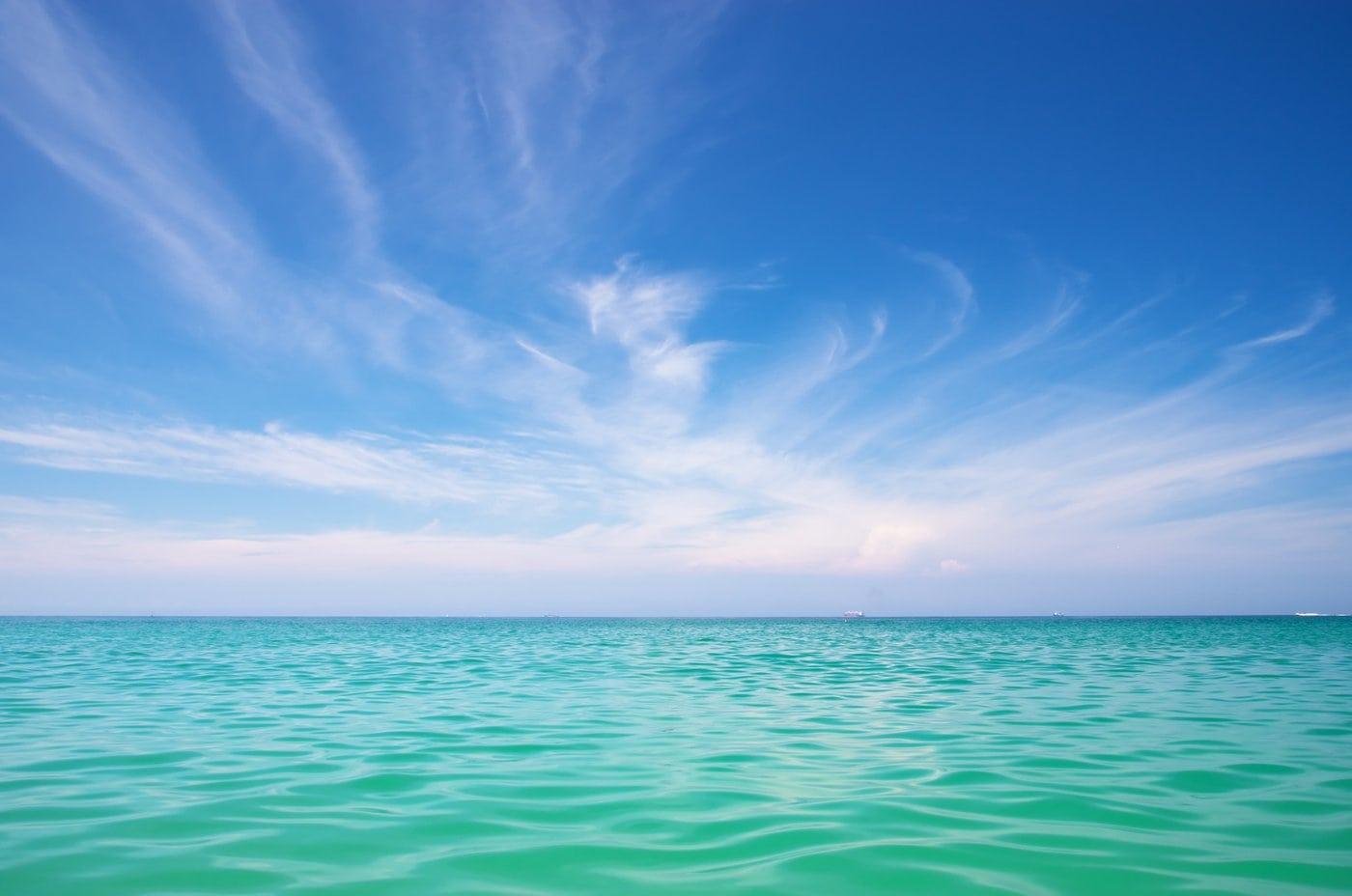 Aqua ocean and beautiful blue sky