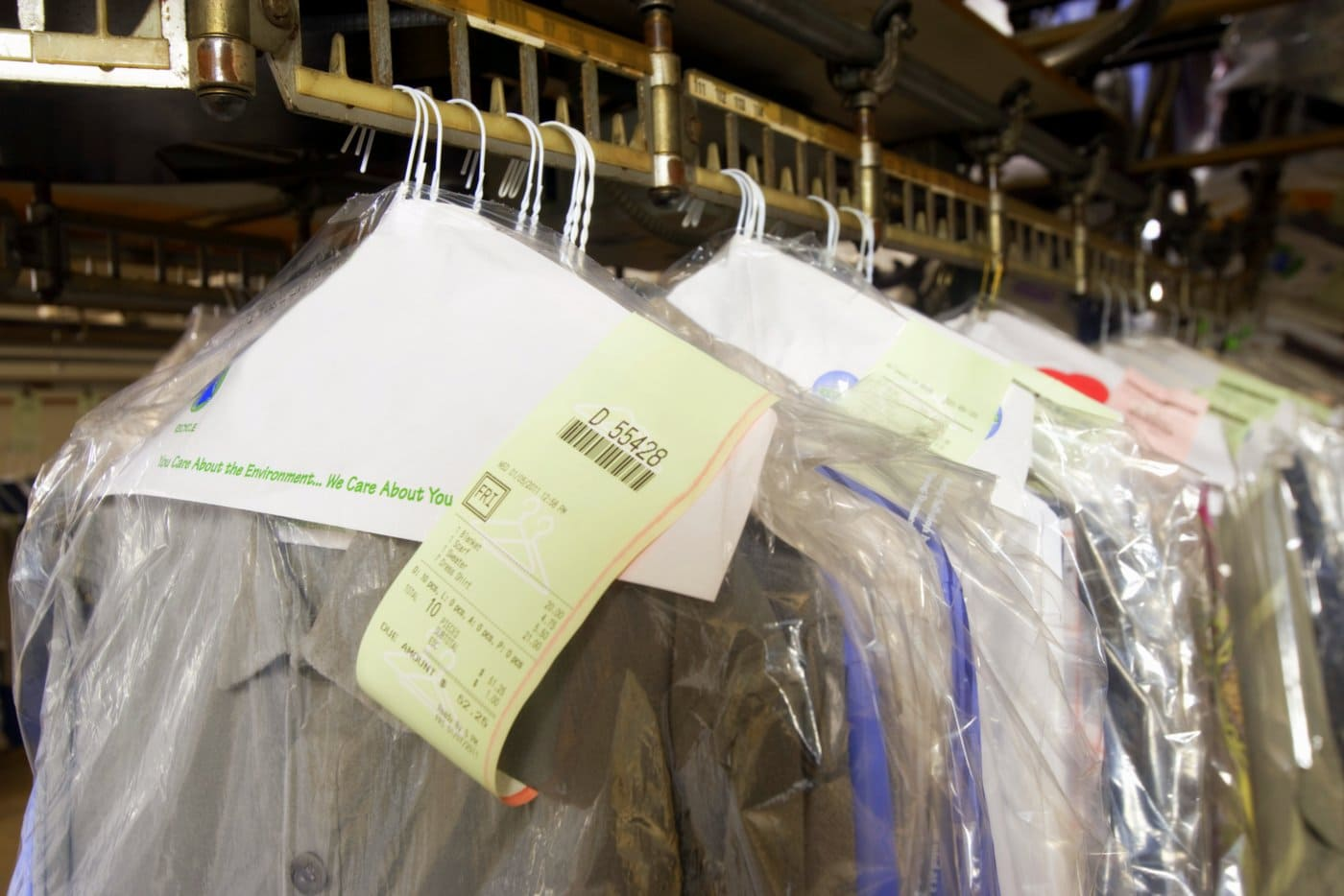 Finished dry cleaning - clothes in bags