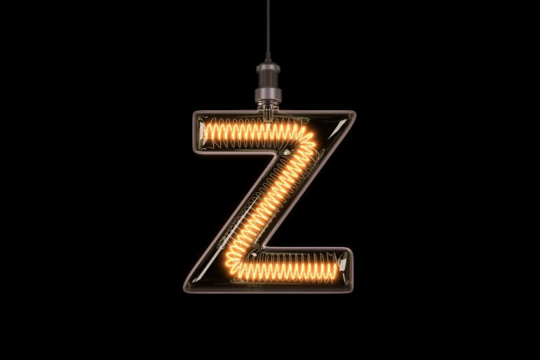 Lit-up letter Z or zed