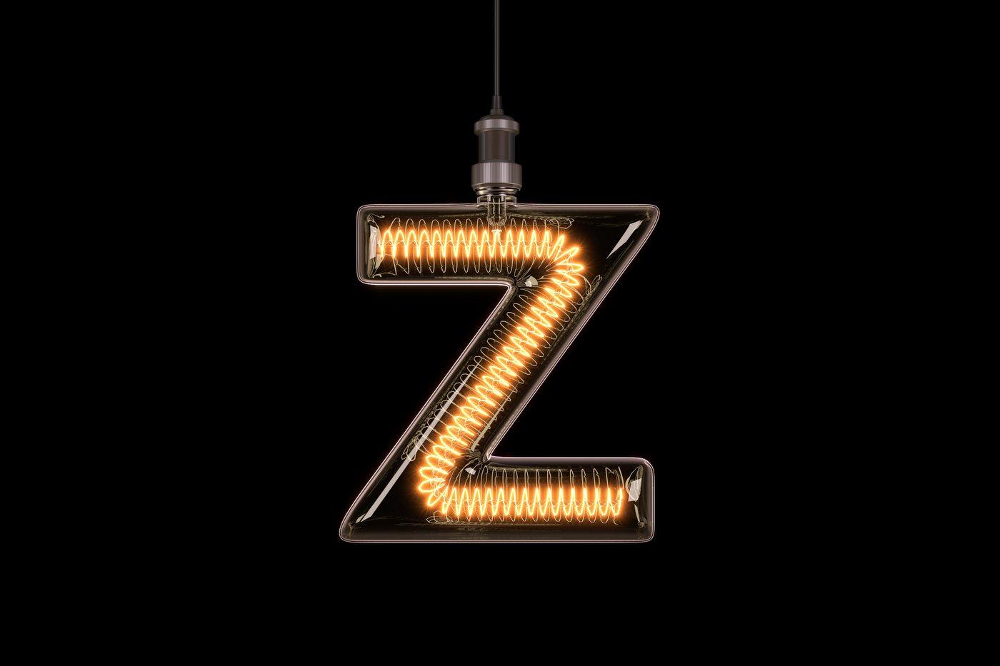Lit-up letter Z or zed