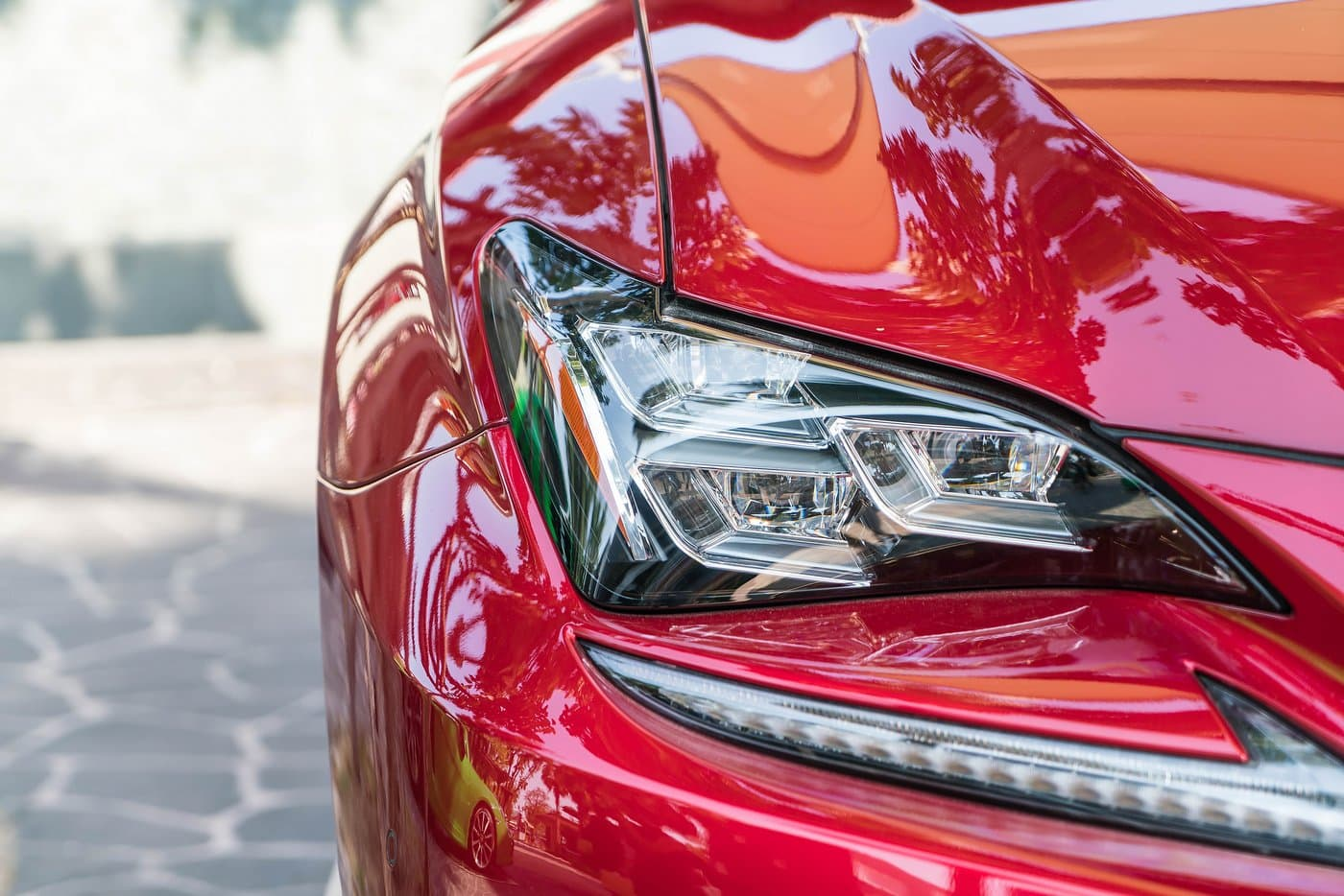Shiny red car waxed