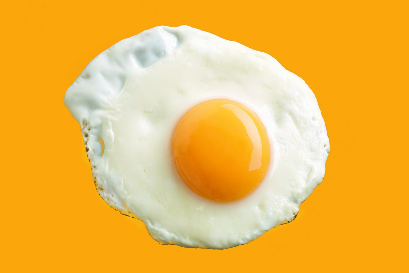 Fried egg on yellow background