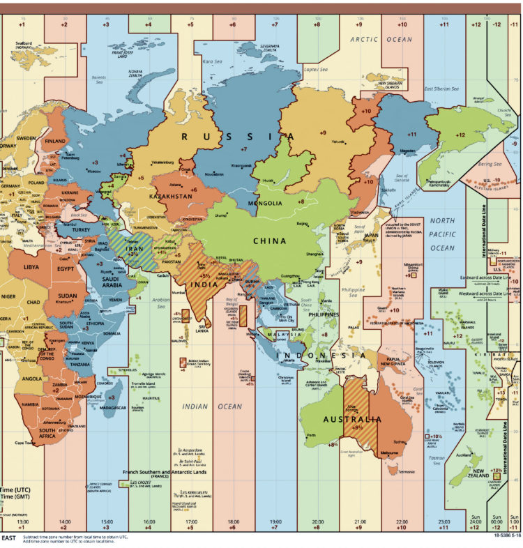 Standard time zones of the world - Eastern