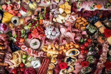 Food snacks and deli meats on a party buffet